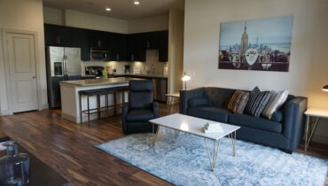 Living Room from the New York Design at Premier Patient Housing.