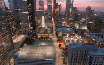 Houston skyline in Mid-Town.
