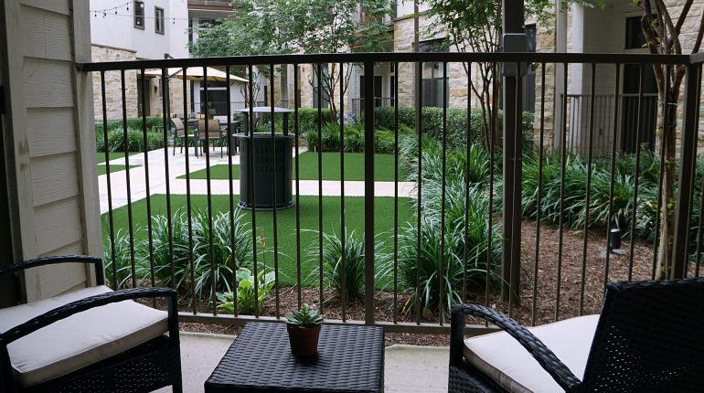 Courtyard view from the Ohio design at Premier Patient Housing.